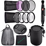 49mm 3 Piece Filter Set (UV, CPL, FL) + LENS CAP 49MM + 49mm +1 +2 +4 +10 Close-Up Macro Filter Set With Pouch + SLR Lens Pouch + Lens Pen Cleaner + Cleaning Cloth + Camera Backpack Case Bundle