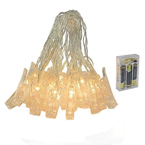 Yasolote 5M 30 LED Cadena de Luces con Pinzas 2 Modos Guirnalda de Pinzas Impermeable Iluminación Decorativa para Fotos Colgadas, Fiestas, Decoración de Eventos, Celebraciones y Navidad Blanco Cálido