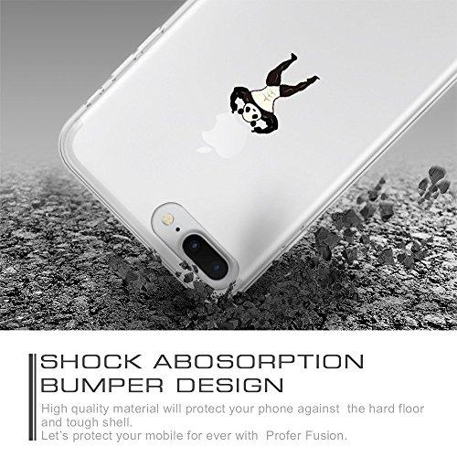 iPhone 7 Plus Hülle, Qissy®Cute panda series Transparent Weiche Silikon Schutzhülle mit Niedlich Muster für Apple iPhone 7 plus 7