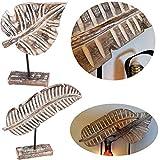 LS-LebenStil XL Deko Holz-Objekt Set Tropical Palmen-Blatt 38cm Braun Weiß