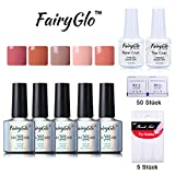 FairyGlo 5 Color Combo Nude Gel Nail Polish + Base Top + 50 pcs Remover Wrap + 5pcs French Sticker UV LED Soak Off Nail Art Collection Gift Set DIY 10ml 009