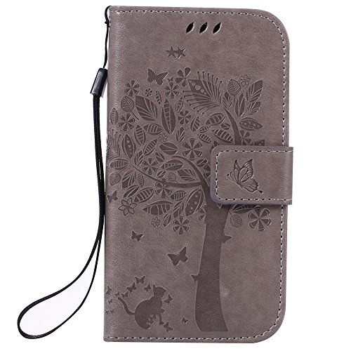 Nancen Samsung Galaxy S4 / GT-i9500 (5 pouces) Coque de Protection, Bonne Qualité PU Cuir Portefeuille et Card Slot Étui en Flip Cover / Anti-rayures Smart Case. Dix Solide couleurs [ Chat et Arbre Style Motif]