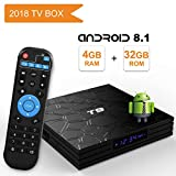 Android TV Box 8.1,2018 Caja de TV Android Quad Core / 64 bits / BT4.0 / H.265 / 3D UHD 4K Caja de TV Inteligente de Internet Completamente cargada(4GB/32GB)
