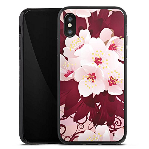 Apple iPhone X Silikon Hülle Case Schutzhülle Blüten Weiße Blumen Muster Silikon Case schwarz