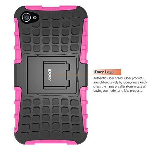 aa60814f1e Custodia iPhone 4S,Cover iPhone 4,ShockAbsorption Bumper,Protettiva Stand  Case,Copertura Protettiva in Plastica e TPU Custodia per iPhone 4 4S verde  rosa