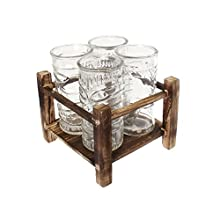 Pick and Drink KA2557 Totem avec 4 Verres, Bois, Transparent, 18,7 x 17,5 x 19,2 cm