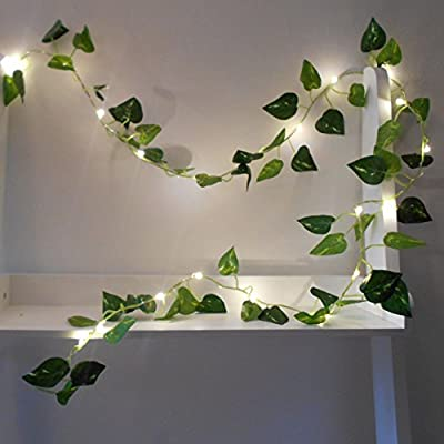 Ivy Fairy Lights / String Lights - 2m 20 LED - Wedding Decorations - Battery Operated - Warm White - Indoor Leaves - Leaf Garland with Lights - Fairy Lights Bedroom - Leaf Fairy Lights - Fairy Lights Leaf - Prime Delivery