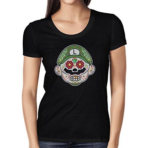 Mario Kostüm Super Maker Luigi - NERDO - Mexican Luigi - Damen T-Shirt, Größe L, schwarz
