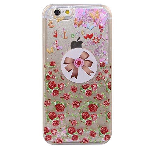 iPhone 6 Hülle iPhone 6S Hülle,iPhone 6S Case,EMAXELERS Cute Weißes Kleid Mädchen Muster Hart Transparente Hülle Case Cover Fairy Mädchen Serie 3D Glitter flüssigkeit Schwimmende Veränderung farbe Pai Pink Heart Series 10