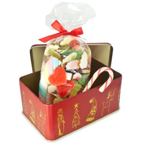 Die Blechtrommel, 650 Gramm einewinterliche Box mit dem besten Weihnachts-Süßigkeiten, tolles Weihnachtsgeschenk oder zum Nikolaus