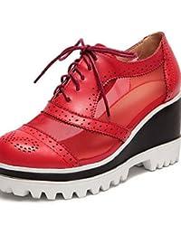 Zq Étreinte Chaussures Femme - Talon Plat - Bout Rond - Plat - Décontracté - Semicuero - Noir / Rose / Violet / Rouge / Blanc / Beige, Rouge-us9.5-10 / Eu41 / Uk7.5-8 / Cn42, Red- Us9.5-10 / Eu41 / Uk7.5