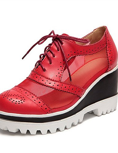 ZQ Scarpe Donna-Stringate-Tempo libero / Casual / Sportivo-Zeppe-Zeppa-Finta pelle-Nero / Rosso / Beige , red-us7.5 / eu38 / uk5.5 / cn38 , red-us7.5 / eu38 / uk5.5 / cn38 beige-us5 / eu35 / uk3 / cn34
