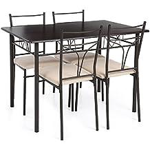 IKAYAA YS15A105 - Conjunto de Muebles de Cocina 5pcs/Set ( Una Mesa Max.120kg + 4 Sillas Max.100kg) para Uso en Casa Jardín Terraza