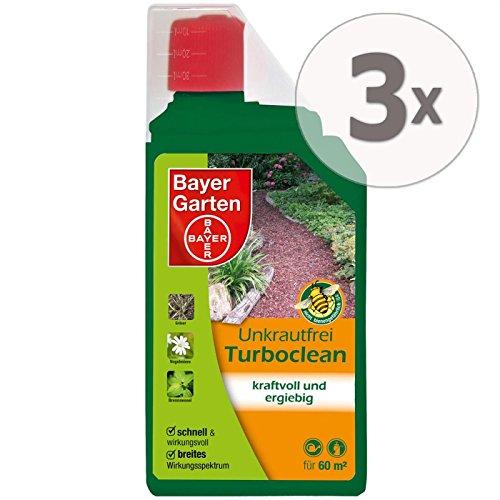 Gardopia Sparpaket: 3 x 1 Liter Bayer Garten Unkrautfrei Turboclean Unkrautvernichter Totalherbizid Plus Zeckenzange mit Lupe