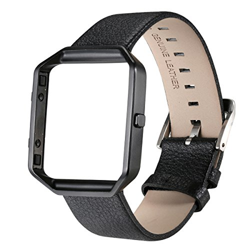 for-fitbit-blaze-bayite-accessory-23mm-leather-strap-with-steel-frame-black-large-63-81-inches