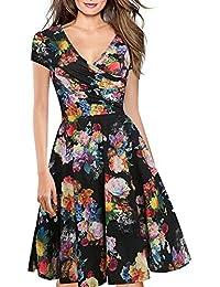 992d712a5 Women s Criss-Cross Necklines V-Neck Cap Sleeve Floral Casual Work Stretch  Swing Summer