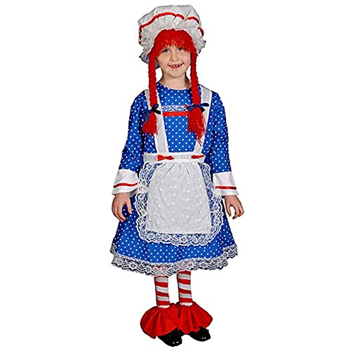 Dress Up America 283-S - Rag Doll Kostüm Set in Deluxe-Ausführung, 4-6 Jahre, Taille 74 cm, Größe 107 cm, (Ann Raggedy Kind Kostüme)