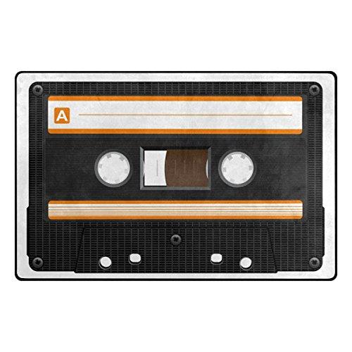 Bennigiry Retro Audio Cassette Music Rango Alfombra Antideslizante Diario de DF920felpudos para salón Dormitorio 78,7x 50,8cm, poliéster, 60 x 39 Inch