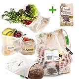 Naturely Gemüsenetze für den plastikfreien Einkauf aus nachhaltiger Bio Baumwolle (inkl Brotbeutel) |...