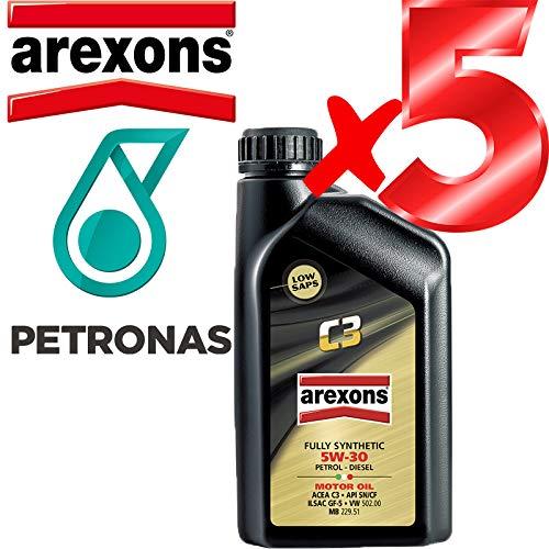 Olio Motore 5w30 Petronas/AREXONS C3 Sintetico da 5 L Litri Litri per Motori Benzina e Diesel GPL e metano