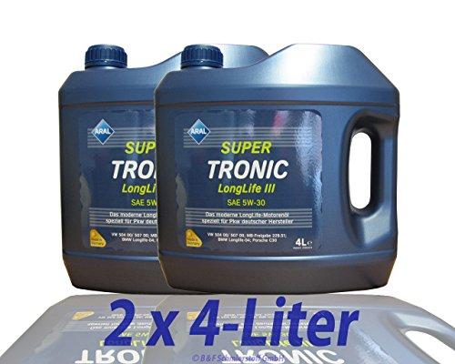 2x 4 L = 8 Liter ARAL SuperTronic Longlife III 3 5W-30 Motoröl inkl. Ölwechselanhänger