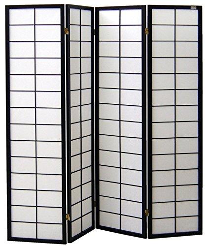 Pantalla de madera y papel de arroz con 4 puertas. Modelo Nanji Color negro