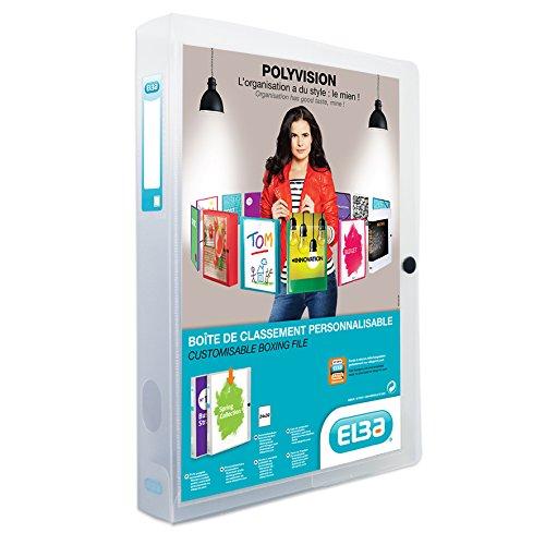ELBA 100200142 Kunststoff-Sammelbox polyvision 4 cm breit DIN A4 farblos transparent Drucknopf-Verschluss Sammel-Mappe Heftbox Heft-Sammler Dokumenten-Box ideal für Büro Schule und die mobile Organisation