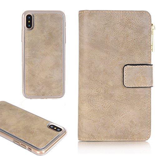 iPhone 6 Plus 5,5''Schutz Tasche, TechCode Premium PU Leder Reißverschluss Handytasche [Card Slots] Abnehmbare Abdeckung Schutzhülle für Apple iPhone 6 Plus 5,5 zoll(iPhone 6 Plus,Grau)