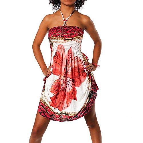 H112 Damen Sommer Aztec Bandeau Bunt Tuch Kleid Tuchkleid Strandkleid Neckholder, Farben:F-030 Rot;Größen:Einheitsgröße