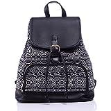 Guran® Damen Mädchen Leinwand Trekking Rucksäcke Reisetasche/ Kinder rucksack - Schwarz Weiß Diamant Muster