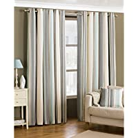 """Riva Paoletti Broadway Ringtop Eyelet Curtains (Pair) - Blue, Grey and Cream - Modern Striped Design Room Darkening Design - PolyCotton - 168cm width x 229cm drop (66"""" x 90"""" inches)"""