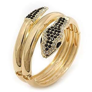 """Bracelet à charnière """"serpent"""" cristal Swarovski noir/transparent en plaqué or"""