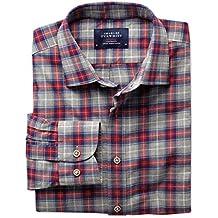 Extra Slim Fit Hemd in rot und grau meliert mit Karos