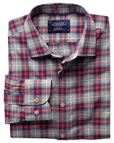 Classic Fit Hemd in rot und grau meliert mit Karos grau (Knopfmanschetten Cuff)