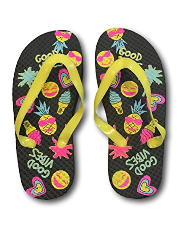 Tropic Sun Girls Pink Pineapple Emoji Sunglasses Summer Flip Flops Sandals