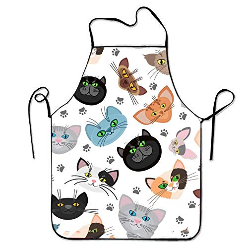 Shengpeng Bib Apron Catface for Waiteress Stitched Edges -