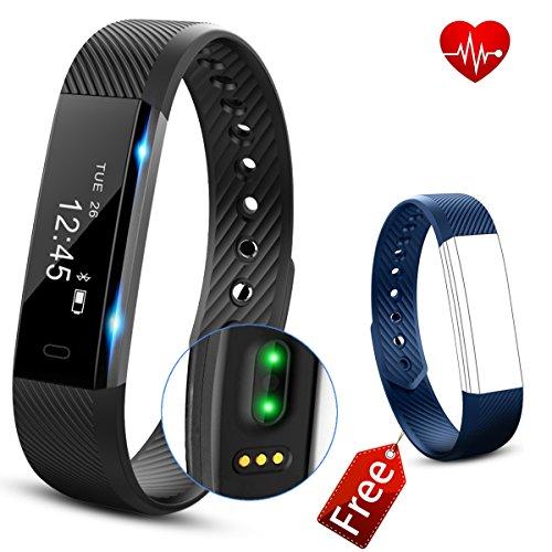 Activity tracker Cardiofrequenzimetro, Fitness Tracker, 0.86''OLED Touchscreen Bluetooth Braccialetto fitness, IP67 Impermeabile Sport Braccialetti Fitness Intelligente - Misurazione Frequenza Cardiaca/Contapassi/Monitoraggio del Sonno/Calorie/Distanza & Fotocamera/ Sedentario Alert/Sveglia/Notifiche Chiamate/SMS/Whatsapp/Facebook per Iphone IOS & Android (Blu Nero)