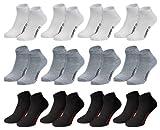 """12 Paar Sneaker """"Sport"""" 4schwarz+4grau+4weiß"""