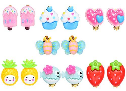Princess Clip Ohrringe Set Stecker für Kinder kleine Mädchen (7 Paar Clip Ohrringe Set) (Paare Nette Kostüme)