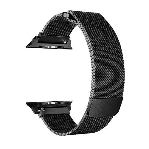 EH HE Armband für Apple Watch 38mm Schwarzr Milanaise Strap Armband Replacement Wrist Band für Apple Watch 38mm Serie1,2,3