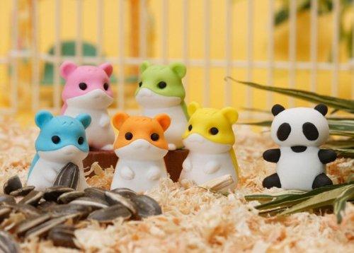 sischer Panda und Hamster japanischen Radierer (6 Stück) - HINWEIS: Panda und Hamster Radiergummi Farben können vom Bild abweichen. ()
