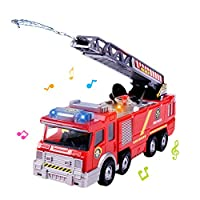 KOBWA Fire Engine Toy,Fire Truck Car,Battery Operated Electric Car Rescue Vehicle With Manual Water Pump Extending Ladder Flashing Lights, Emergency Vehicles Toy for Kids Boy and Girl