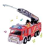 KOBWA Feuerwehrauto/Feuerwehrauto / batteriebetriebenes Elektroauto mit manueller Wasserpumpe, ausziehbare Leiter, Blinklichter, Notfall-Fahrzeuge, Spielzeug für Kinder Jungen und Mädchen