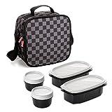 TATAY Urban Food Chess - Bolsa térmica porta alimentos con fiambreras incluidas, color gris/negro
