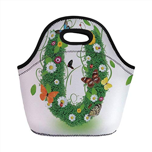 Portable Bento Lunch Bag,Letter U,Capitalized U with Forest Color Scheme Plants Wildflower Butterflies Design Decorative,Green Multicolor,for Kids Adult Thermal Insulated Tote Bags