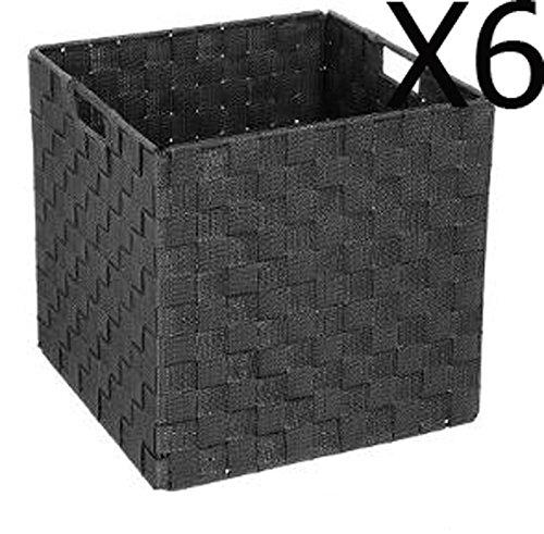 PEGANE Lot de 6 paniers pliants Coloris Noir - Dim : L.31 x P.31 x H. 31 cm