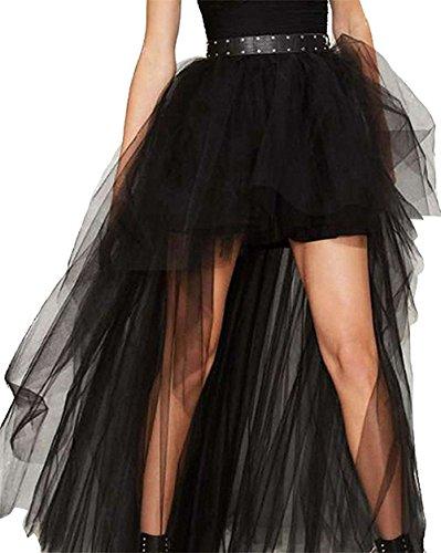 Falda de estilo Steampunk gótico, de Coswe, para mujeres, con gasa, para fiestas y más negro EU 42-43/XXX-Large=Cintura 88 cm