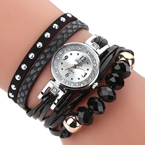 Uhren Damen, HUIHUI Geflochten Armbanduhren Günstige Uhren Wasserdicht Beliebte Casual Analoge Quarz Uhr Luxus Armband Coole Uhren Lederarmband Mädchen Frau Uhr (Schwarz)