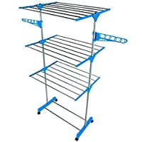 Gr8 Home Deluxe 3 Tier Folding 15m Clothes Towel Airer Dryer Laundry Drying Rack Stand Foldable, Metal, Plastic, Silver, 168 x 77 x 57 cm