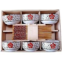 Juego de 4 estilo japonés cuenco de arroz Set de regalo (Mix Color) –